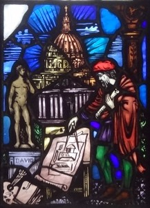 A scene from the Fine Arts window (Gargan Hall in Bapst Library). This scene depict Michelangelo, painter, sculptor (the David) and architect (of the dome of St. Peter's Cathedral).